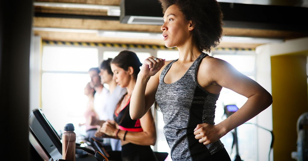 Group of healthy fit people cardio workout in gym; blog: 10 Aerobic Exercises for Vascular Health